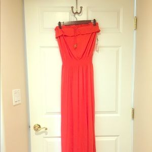 Forever 21 orange ruffled strapless maxi dress.
